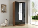 Lynx 3 Door 2 Drawer Wardrobe Walnut And Black