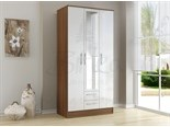 Lynx 3 Door 2 Drawer Wardrobe Walnut And White