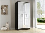 Lynx 3 Door Wardrobe Black and White