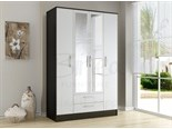 Lynx 4 Door 2 Drawer Wardrobe Black and White