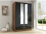 Lynx 4 Door 2 Drawer Wardrobe Walnut and Black