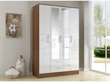 Lynx 4 Door 2 Drawer Wardrobe Walnut and White
