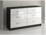 Lynx 6 Drawer Chest Black And White