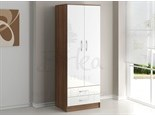 Lynx 2 Door Combination Wardrobe Walnut and White