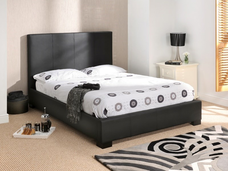Black Leather Bed by Snuggle on Mattressman.co.uk