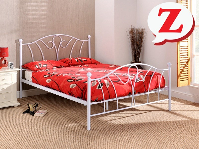 White Metal Bed from Snuggle - the Luna