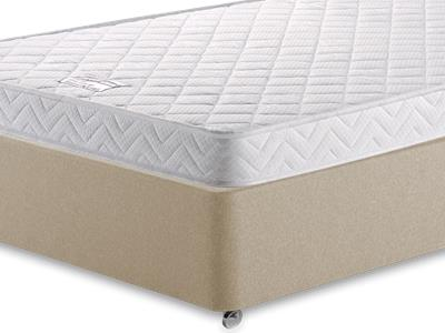 Birlea Comfort Care 4 Small Double Mattress with Executive Sandstone Small Double 4 Drawer Divan Set