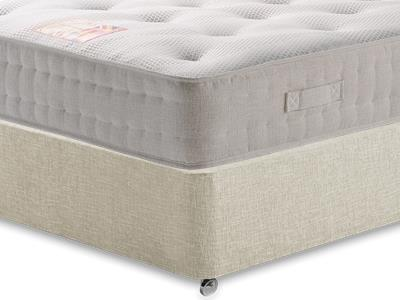 British Bed Company Cotton Pocket 1200 Chenille 3 Single with Executive Barley Single 0 Drawer Divan Set