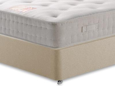 British Bed Company Cotton Pocket 1200 Chenille 4 6 Double with Executive Sandstone Double 0 Drawer Divan Set