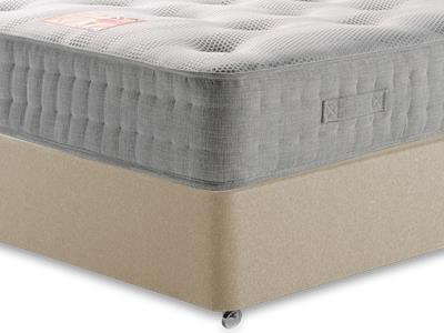 British Bed Company Cotton Pocket 1400 Chenille 4 6 Double with Executive Sandstone Double 0 Drawer Divan Set
