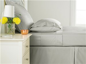 Sanderson 300 Thread Count Plain Dye Fitted Sheet - Silver
