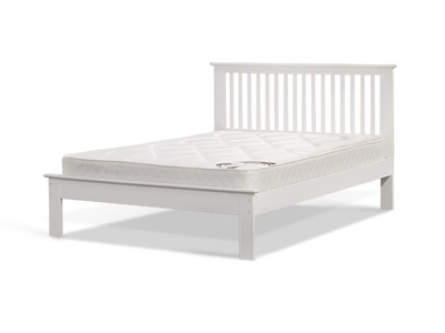 Snuggle Beds Ashurst White 4 6 Double White Low Foot End Wooden Bed
