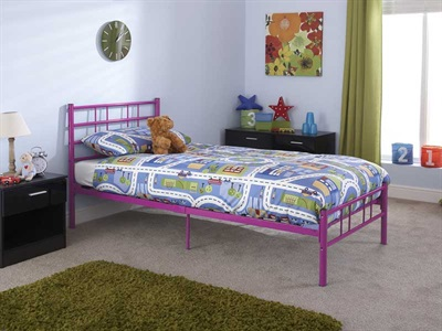 GFW Morgan Pink 3 Single Pink Metal Metal Bed