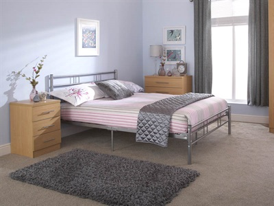 GFW Morgan Silver 4 Small Double Silver Metal Metal Bed