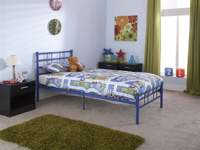 GFW Morgan Blue 3 Single Blue Metal Metal Bed