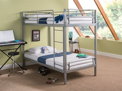 Snuggle Beds Harley Silver 3 Single Silver Bunk Bed