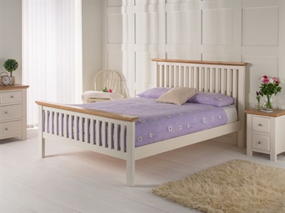 Furniture Express London White Bedstead Oak Trim 3 Single Wooden Bed