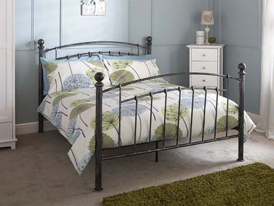 GFW Brompton 4 6 Double Pewter Metal Bed