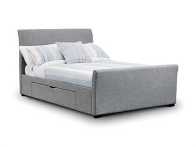 Julian Bowen Capri Bed with 2 Underbed Storage Drawers 4 6 Double Light Grey 2 Drawer Fabric Bed