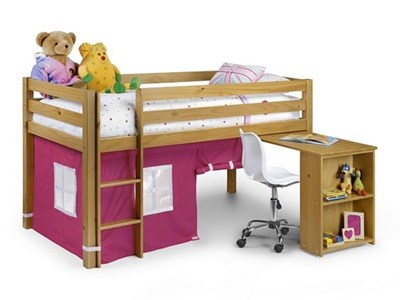 Julian Bowen Wendy Sleeeper (With Curtains) Pink 3 Single Natural Cabin Bed
