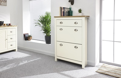 Product photograph showing Lancaster 2 Door 1 Drawer Shoe Cabinet