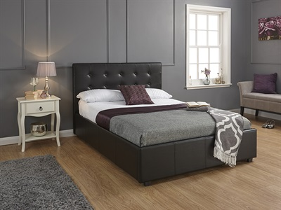 GFW Regal Black 3 Single Ottoman Bed