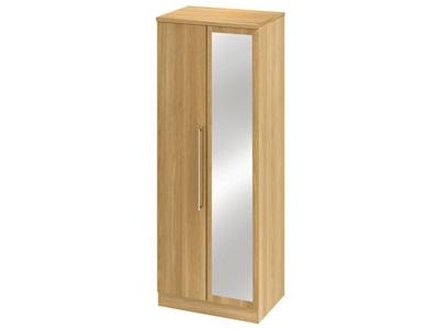 Furniture Express Sherwood 2ft6in Mirror Robe Modern Oak Assembled Wardrobe