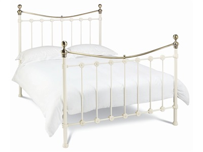 Bentley Designs Amelie 4 Small Double Antique White and Antique Brass Slatted Bedstead Metal Bed