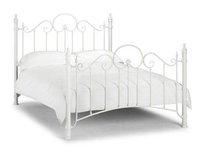 Julian Bowen Florence 4 6 Double Stone White Metal Bed