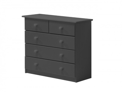 Verona Design Ltd Verona 3+2 Drawer Chest Graphite Graphite 5 Drawer Chest Drawer Chest