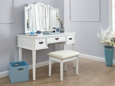 GFW Bella Dressing Table Set White Dressing Table