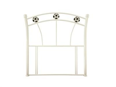 Serene Furnishings Soccer White 3 Single Glossy White Metal Headboard