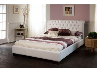 Limelight Aries White 4 6 Double White Leather Bed