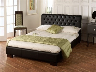 Limelight Aries Black 4 6 Double Black Leather Bed