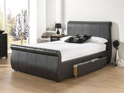 Snuggle Beds Alabama 4 6 Double Black Leather Bed