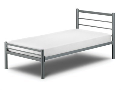 Julian Bowen Alpen 4 Small Double Silver Slatted Bedstead Metal Bed