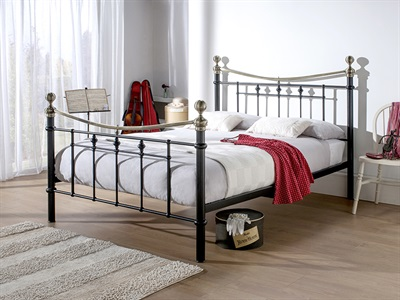 Snuggle Beds Amelia 5' King Size Black and Brass Metal Bed