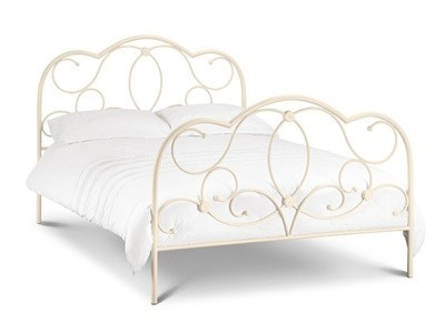 Julian Bowen Arabella  4 6 Double Stone White Metal Bed