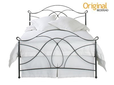 Original Bedstead Co Ardo 4 6 Double Glossy Ivory Slatted Bedstead Metal Bed