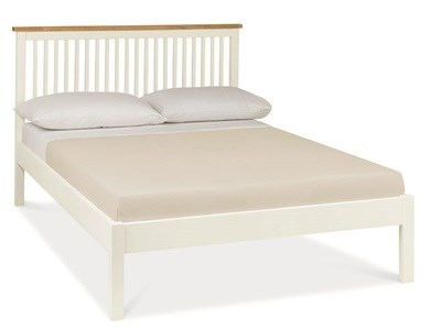 Bentley Designs Atlanta Two Tone - Low Foot End 3 Single Oak and White Slatted Bedstead Wooden Bed