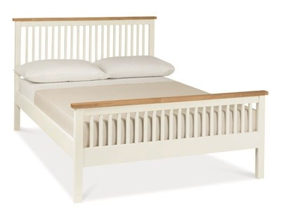 Bentley Designs Atlanta Two Tone - High Foot End 3 Single Oak and White Slatted Bedstead Wooden Bed
