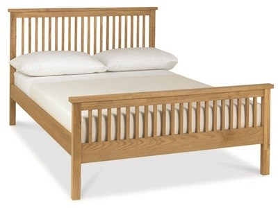 Bentley Designs Atlanta Oak Finish - High Foot End 3 Single Oak Slatted Bedstead Wooden Bed
