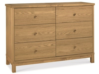 Bentley Designs Atlanta Oak 6 Drawer Wide Chest Drawer Chest