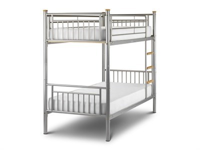Julian Bowen Atlas Bunk Bed 3 Single Silver Slatted Bedstead Bunk Bed