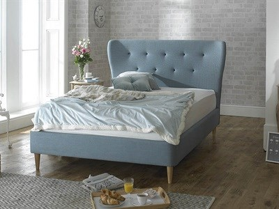 Limelight Aurora 4 6 Double Duck Egg Blue Slatted Bedstead Fabric Bed