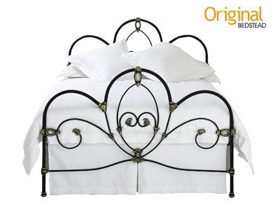 Original Bedstead Co Ballina 4 6 Double Texture Ivory Gold Highlights Headboard Only Metal Headboard