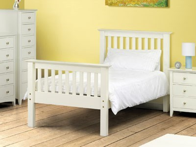 Julian Bowen Barcelona Stone White High Foot End 3 Single Stone White Slatted Bedstead High Foot End Wooden Bed