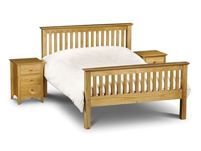 Julian Bowen Barcelona Pine High Foot End 3 Single Natural Slatted Bedstead High Foot End Wooden Bed