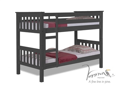 Verona Design Ltd Barcelona Bunk Bed Graphite 3 Single Graphite Bunk Bed Bunk Bed