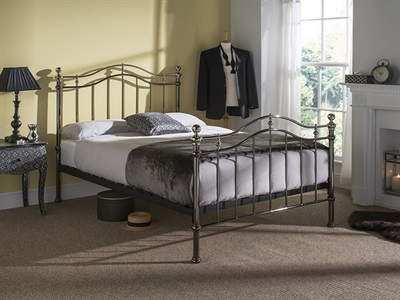 Bentley Designs Chloe 4 6 Double Black Metal Bed